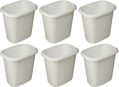Rubbermaid Vanity Trash Can Wastebasket 6.0 quarts (FG295300WHT) (6 Pack-Case)
