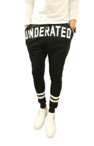 Demetory Mens Slim Fit Printed Drawstring Sports Baggy Jogging Pants