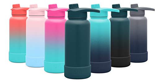 - Simple Modern 14oz Summit Water Bottle with Chug Lid & Protective Boot - Hydro Vacuum Insulated Flask 18/8 Stainless Steel Powder Coated -Riptide