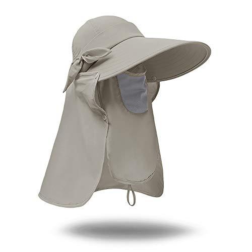 Jormatt Women Summer Sun Visor Hats with Neck Flap Wide Brim UV Protection Hiking Fishing Cap UPF 50+ Adjustable,Sand - Game Cap Adjustable
