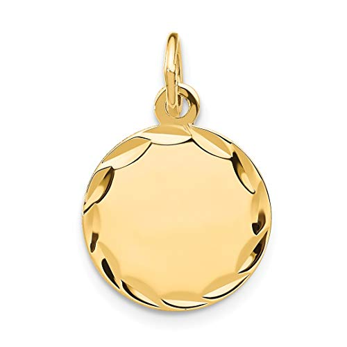 14k Yellow Gold Etched .011 Gauge Engravable Round Disc Pendant Charm Necklace Fine Jewelry For Women Gift Set