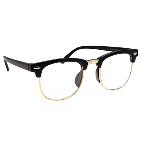Geek Costumes For Kids Girls (Kids Nerd Glasses Half Frame Clear Lens Geek Costume Children's (Age 3-10) Black/Gold)