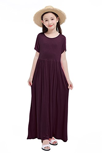 RBwinner Girls Short Sleeve Round Neck Pocket Casual Long Maxi Dress Size 4-13 Years Old (XL, Wine (10 Years Dry Wine)