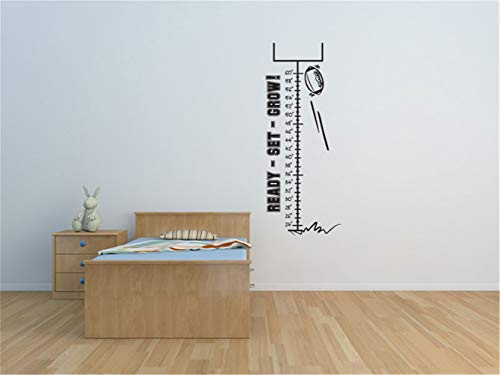 iopada Quotes Vinyl Wall Art Decals Saying Words Removable Lettering Ready Set Grow Football and Goal Growth Chart for Living Room or Bedroom Home Decor (Personalized Growth Chart Dinosaur)