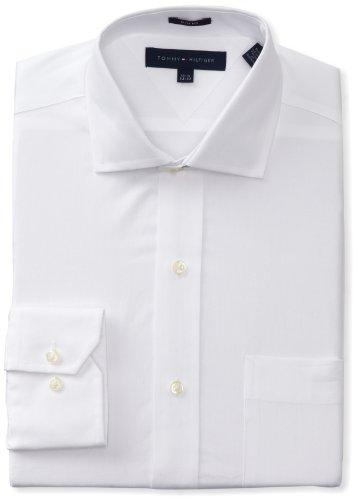 "Tommy Hilfiger Men's Slim Fit Poplin Shirt, White, 15.5"" Neck 34""-35"" Sleeve"