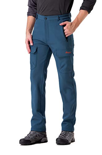 (Clothin Men's Softshell Fleece-Lined Cargo Pants - Warm, Breathable, Water-Repellent, Wind-Resistant-Insulated(Navy,L))