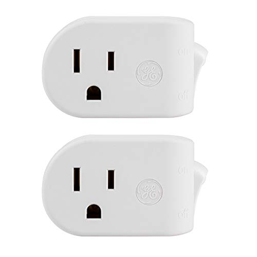 (GE Grounded On/Off Power Switch 2 Pack, Plug-in, White, Energy Efficient, Space Saving Design, UL Listed, 15A, 120VAC, 1800W, 39713)