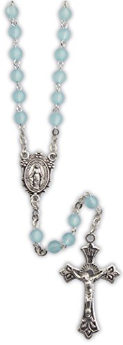 March Rosary - Cathedral Art March/Aquamarine Birthstone Rosary, Silver