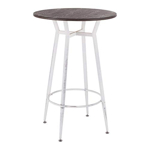 LumiSource Round Bar Table in Vintage White and Espresso