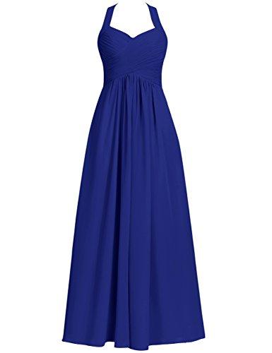 Halter Bridesmaid Dresses Long Prom Dress Chiffon Evening Formal Gowns Pleats Maxi RoyalBlue US 8