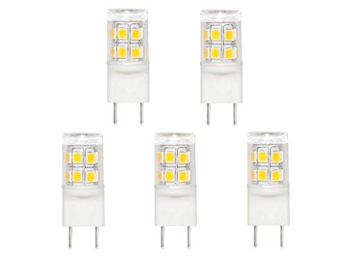 CBConcept 5-Pack, 2 Watt, 220 Lumen, Shorter<35mm G8 LED Bulb, Warm White 3000K, 20W Equivalent, Tower Type 360° Beam Angle, 120Volt, Ceramic G8 JCD LED Halogen Replacement Bulb, Not Dimmable by CBconcept