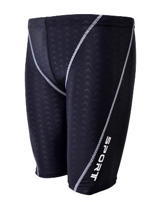 EASEA Men`s Rapid Swim Splice Quick Dry Jammer Swimsuit Black - Men Jammer Swim