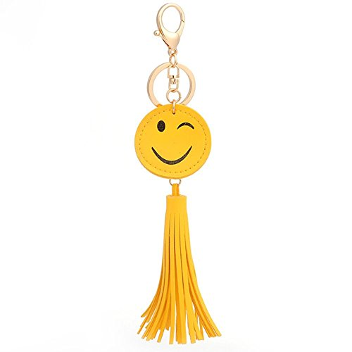 [Smiling Face Pendant Leather Tassels Key Chain Buckle Purse Bag Charm Key Jewelry Chic Accessories Ornaments,Yellow] (Face Buckle)