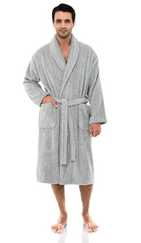 - TowelSelections Men's Robe, Organic Cotton Terry Shawl Bathrobe Medium/Large Glacier Gray