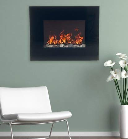 Wall Mount Fireplace Electric Fireplace Heater- Black Glass