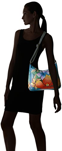 Shoulder Women'S Anna Anuschka Leather Medium Hobo Hand Floral Painted Midnight nBpBqIwYH