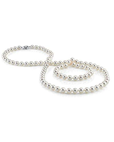 (THE PEARL SOURCE 8-9mm AAA Quality Round White Freshwater Cultured Pearl Necklace for Women in 51