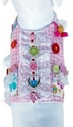 Cha-cha Couture Gingham,buttons, & Daisies Harness Vest W/Leash Size Small (Chest 13-15