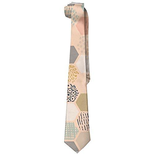 Neckties Pink Hexagonal Honeycomb(8897) Man's Wide Necktie Silk With Skinny Tie Print Necktie Great For Weddings,Groom,Groomsmen,Missions,Dances,Gifts