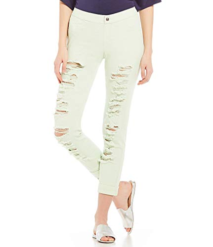 - HUE Women's Ripped Cuffed Denim Skimmer Leggings (Lime Ice, X-Large)