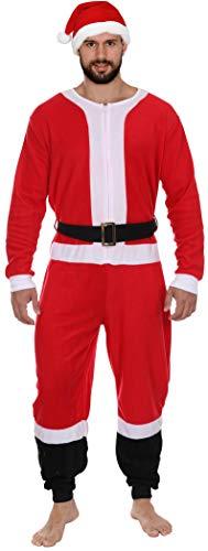 Secret Santa Adult Mens Womens Christmas Holiday Elf Onesie Pajama, Santa with a Hat, Size Small ()