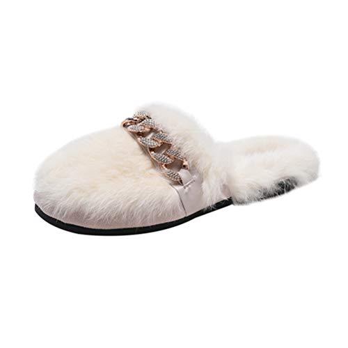 Confortevole Pelliccia Metallico Pantofole In Infradito Sandali Bianco Donna Casa catena Strass Da Jeelinbore Ornato Sintetica twxqSz5P