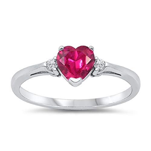 Blue Apple Co. Wedding Engagement Heart Promise Ring Simulated Red Ruby Round CZ 925 Sterling Silver