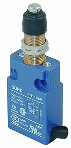 SUNS International SN3131-SP-B1 Panel Mount/Rubber Boot Plunger Compact Limit Switch w/ 1m Cable (Bottom Exit) ()