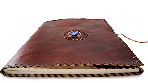 Leather Photo Album Mahogany Brown with Purple Quartz Druzy Stone Extra Large 13 x 10 inch Rustic