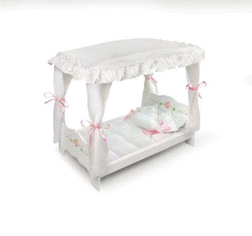 Doll Crib Bed (Badger Basket White Rose Doll Canopy Bed (fits American Girl dolls))