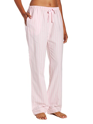 Stripe Pajama Bottoms (Women's Cotton Lightweight Flannel Lounge Pants - Stripes Pink - M)