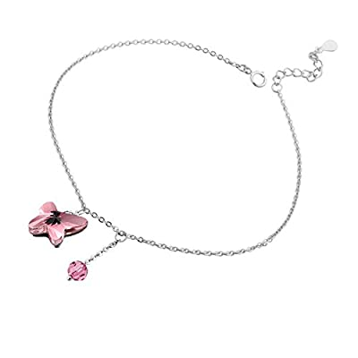 """Discount T400 Jewelers Sterling Silver Swarovski Elements Crystal Butterfly Shape Anklet 8.7"""" Love Gift hot sale"""