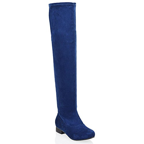 LADIES THIGH HIGH FLAT HEEL WOMENS OVER THE KNEE HIGH STRETCH BOOTS SIZE NAVY FAUX SUEDE