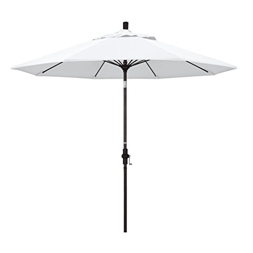 California Umbrella 9 Round Aluminum Pole Fiberglass Rib Market Umbrella, Crank Lift, Collar Tilt, Bronze Pole, White Olefin