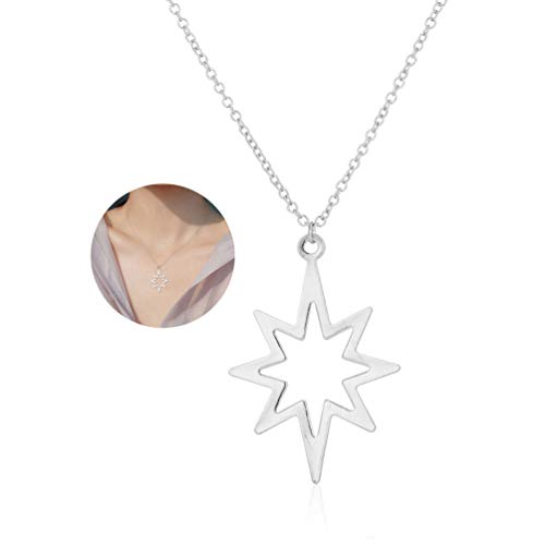 - YOOE Simple Irregular Star Shape Necklace,Charm North Star Pendant Necklace,Personality Electric Shock Leaf Necklace for Women Girls (Silver)