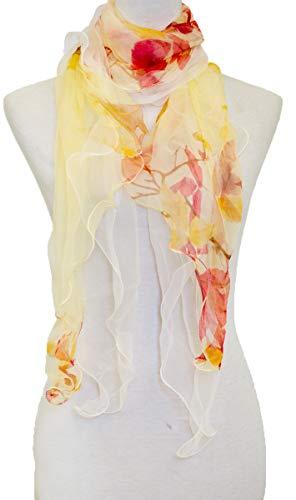 Scarf Layer - Double Layer Silk scarf, Floral Ruffle Silk Scarf, Summer scarf (mapleleaf)