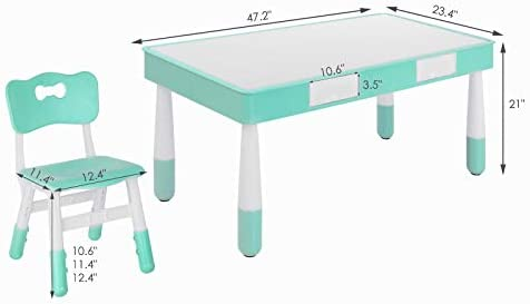 LAZY BUDDY Kids Table And 4 Chairs Set, With Storage Drawer, Height Adjustable Chair, 2 In 1 Multi Activity Play Building Blocks & Toys, Study & Paint Desk, For Boy Girl
