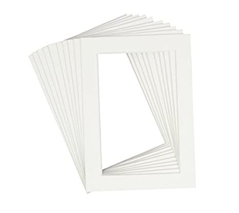 Acid-Free White Pre-Cut 5x7 Picture Mat for 4x6 Photo with White Core Bevel Cut Frame Mattes Pack of 25 Golden State Art