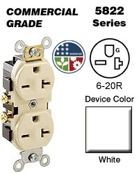 Leviton 5822-WCP Duplex Receptacle Commercial Grade 6-20R 20A 250V Side Wired - White (Contractor Pack of 10)