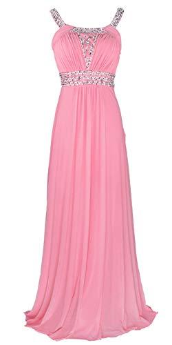 Conail Coco Women Ruched Waist Rhinestone Casual Tulle Semi-Formal Long Wedding Bridesmaid Dress (S, 49Pink) (Beaded Cut Slim Dress Formal)