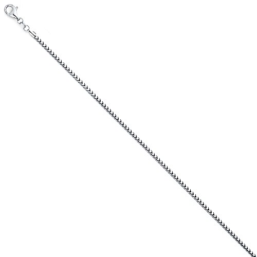 14k White Gold Solid 2mm Franco Round Chain Necklace with Lobster Claw Clasp - 22
