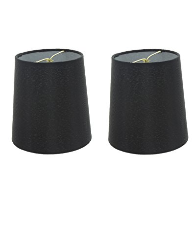 Upgradelights Set of 2 Silk Chandelier Lamp Shades 5 Inch Euro Style Drum Black Silk 4x5x4.5 - Euro White Chandelier