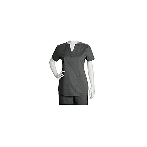 Barco ICU by Women's Junior 3 Pocket Shirt Tail Scrub Top (Pewter, S)