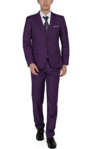 WEEN CHARM Mens Suits 2 Button Slim Fit 3 Pieces Suit Purple -