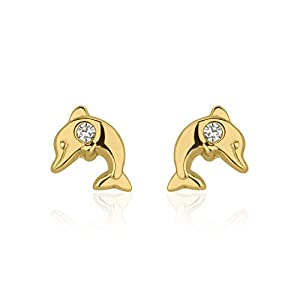 14K Yellow Gold Dolphin with Round Cubic Zirconia Screwback Stud Earrings Girl Teens Jewelry Gift