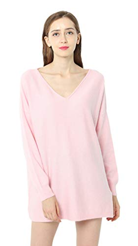 (Ailaile Autumn Winter New 100% Cashmere Sweater Women V-Neck Loose Pullover Female Sexy Wool Tops (Medium, Pink))
