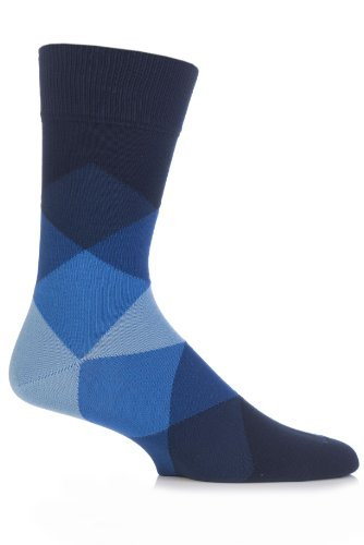 Burlington Mens 1 Pair Clyde Cotton All Over Blend Argyle Socks 7-12 Marine