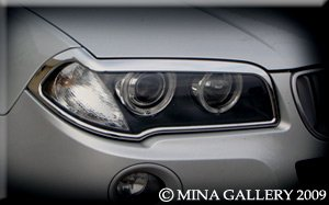 Mina Gallery Chrome Headlight Trim Set for BMW X3 2003 2004 2005 2006 2007 2008 2009 2010 -