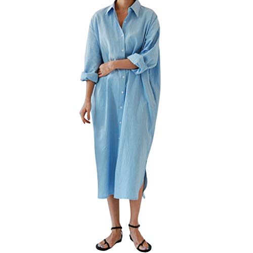 (LISTHA Womens Long Sleeve Maxi Dress Kaftan Cotton Plain Casaul Oversized Long Dresses)