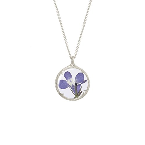 Botanical Pendant Necklace with Delicate Dried Flowers in Glass Charm (Lobelia Flower, silver-plated-base) by Catherine Weitzman